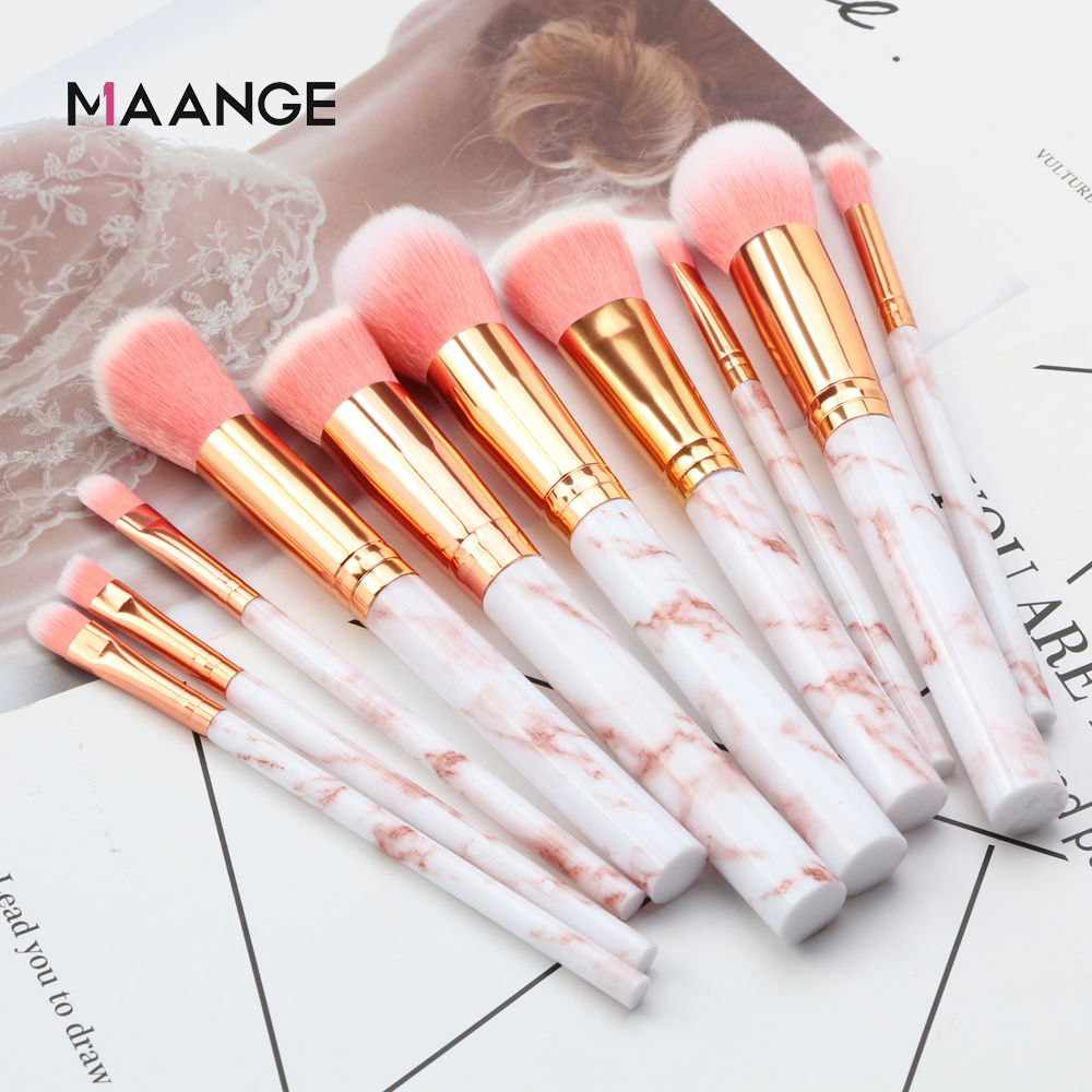 MAANGE Pro 10 Pcs Professional Makeup Brush Set Tools Powder Foundation Eyeshadow Lip Eyeliner Blush Marble Face Makeup Brushes