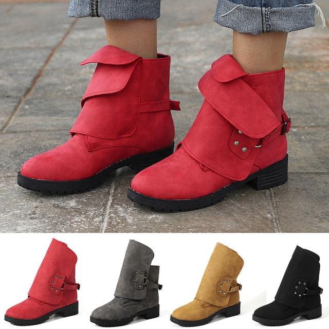 c936a47f275f bota feminina salto Women Ankle Booties Leather Knight Ladies Martin Boots  Cowboy ShoesBootbota zapatos mujer tacon