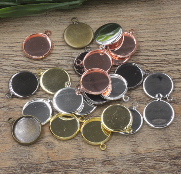 4//10pcs 40x30m Antique bronze//silver Tray Cameo Cabochon Base Setting Charm
