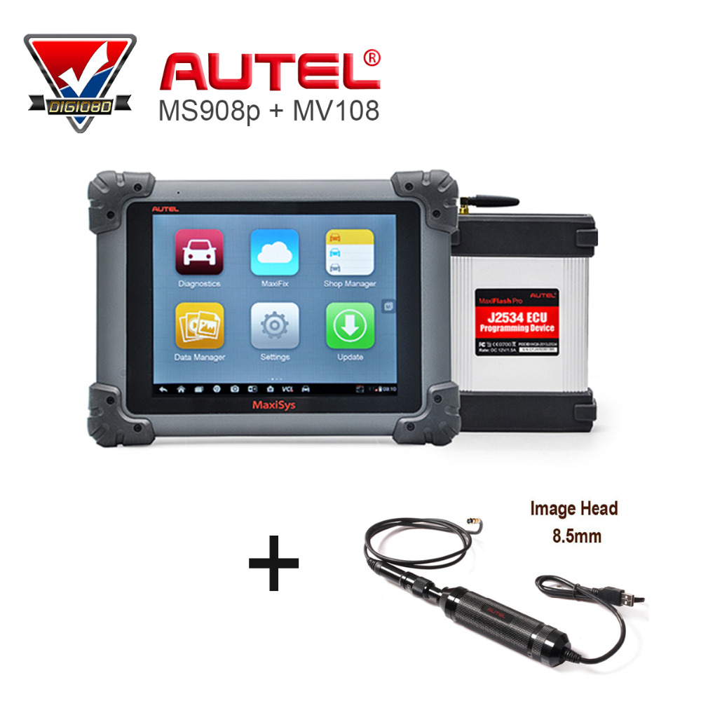 AUTEL MaxiSys Pro MS908P Automotive Diagnostic & ECU Programming System with J2534 reprogramming box with MV108 Tool