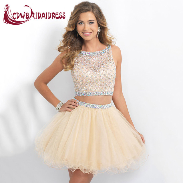 c21e6d4abbc1 Cute Two Piece Short Blush Homecoming Dresses With Beaded Tulle Ruched Mini  Semi Formal Party Gowns For 8th Grade Graduation
