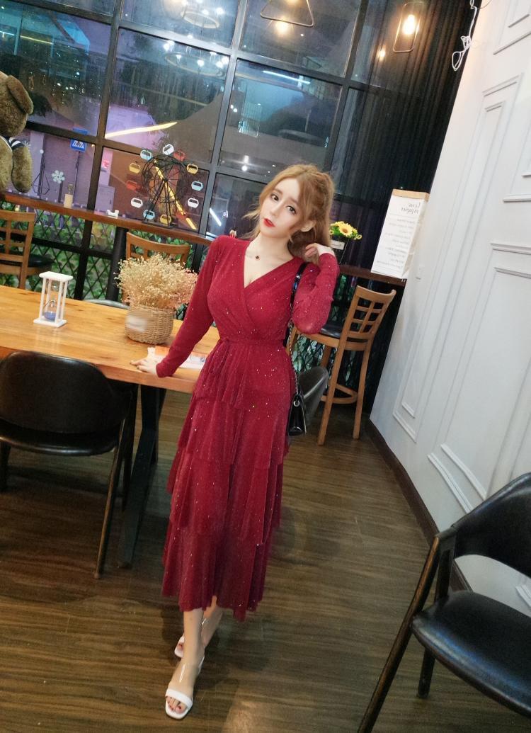 Mesh Sequins Bling Cake Dress Long Vintage Princes Lady Layers Ruffles Dress V Neck Robe Longue Vestido Largo Vestiti Lunga 14