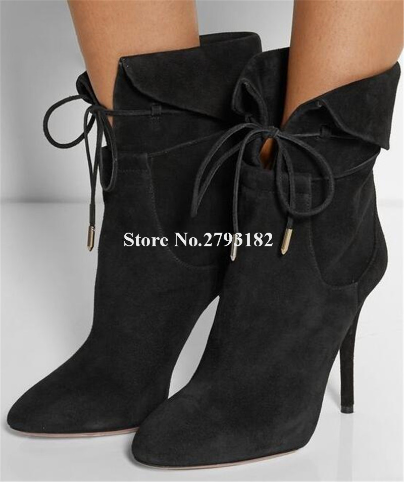 Women Fashion Pointed Toe Suede Leather Thin Heel Folded Short Boots Lace-up Black Green High Heel Ankle Booties Dress ShoesWomen Fashion Pointed Toe Suede Leather Thin Heel Folded Short Boots Lace-up Black Green High Heel Ankle Booties Dress Shoes