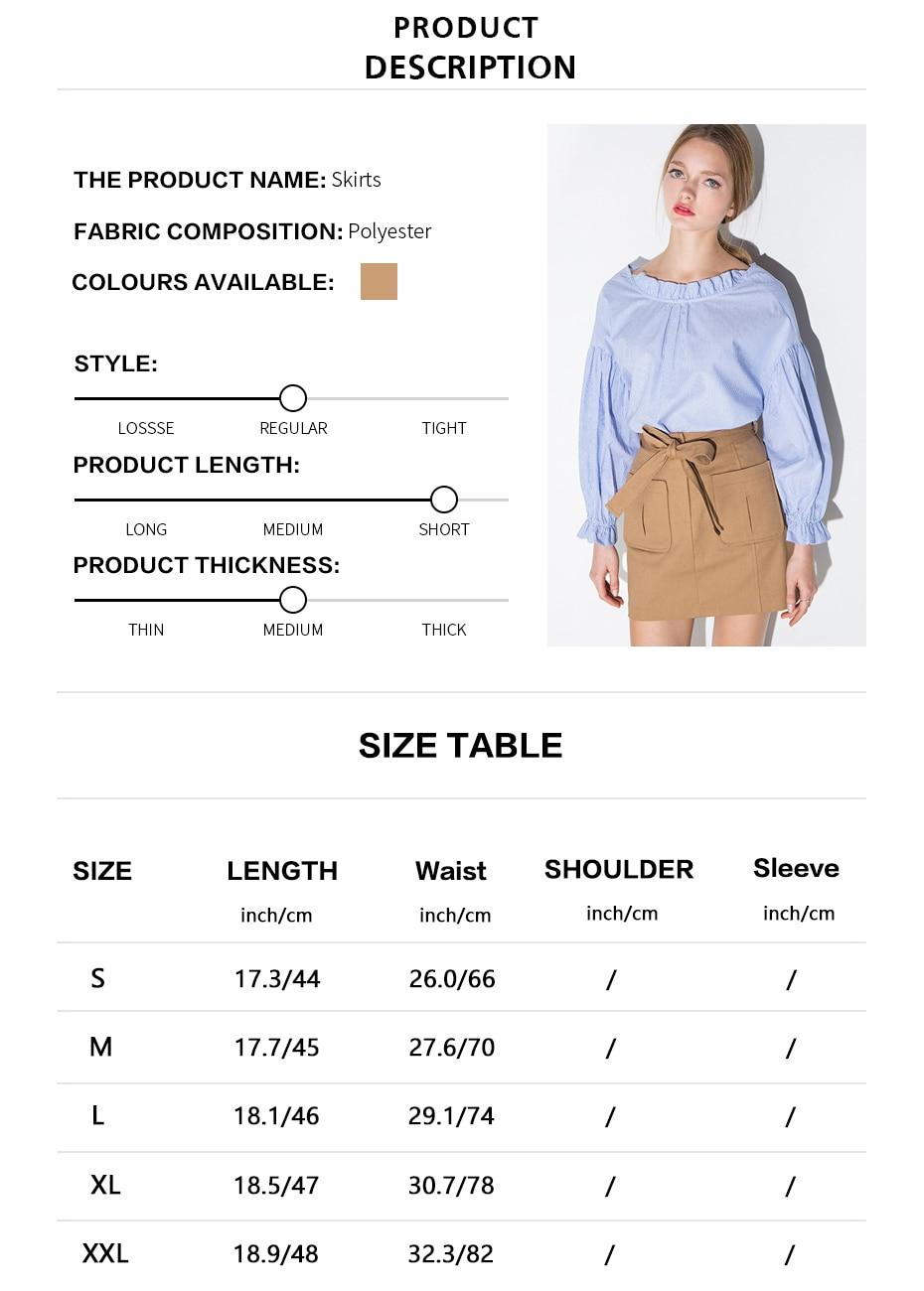 Tie Front High Waist Pockets Skirt 1