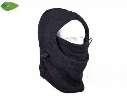 TH01 Negru Căldura călduroasă complet acoperită Mască de schi de iarnă Mască de șampanie pentru beanie, Hat de pescuit