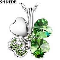 Crystal From Swarovski Necklace Women Vintage Fashion Jewelry Four Leaf Clover Necklace Heart Pendants White Gold