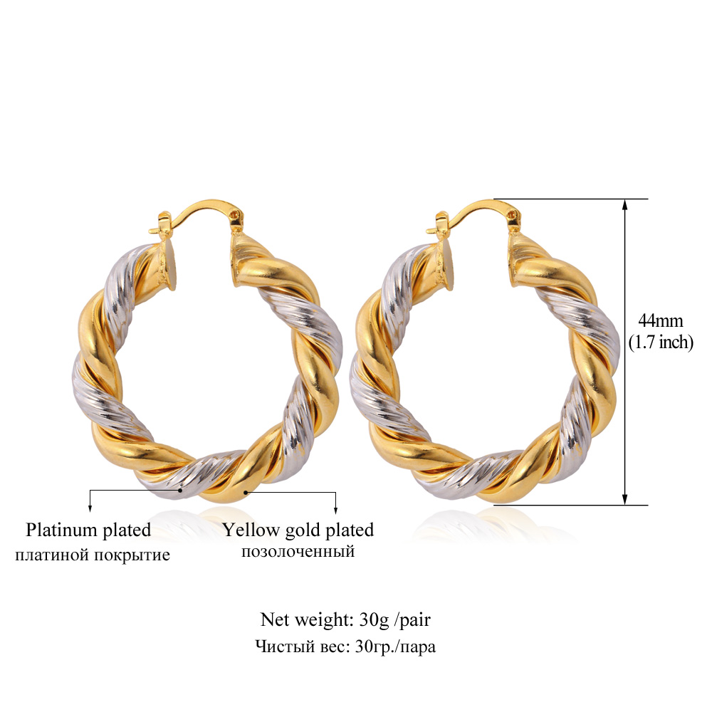 Aliexpress : Buy Starlord Vintage Round Earrings For Women Hot Fashion  Jewelry Two Tone Gold Color Hoop Earrings E683 From Reliable Colorful Hoop