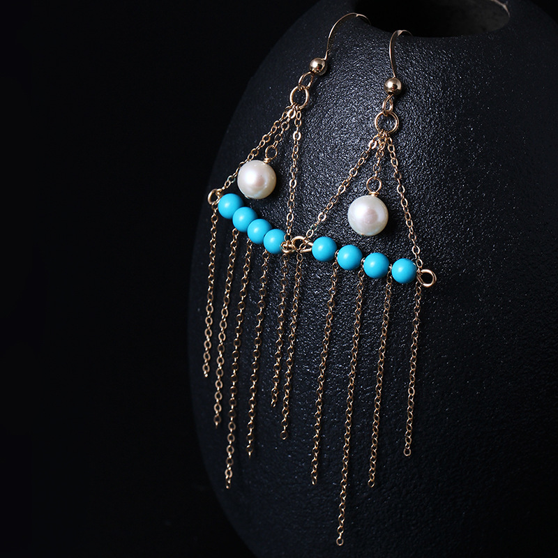 все цены на LouLeur 14K gold Turquoise earrings handmade DIY natural pearl green Turquoise tassel drop earrings for women charms jewelry