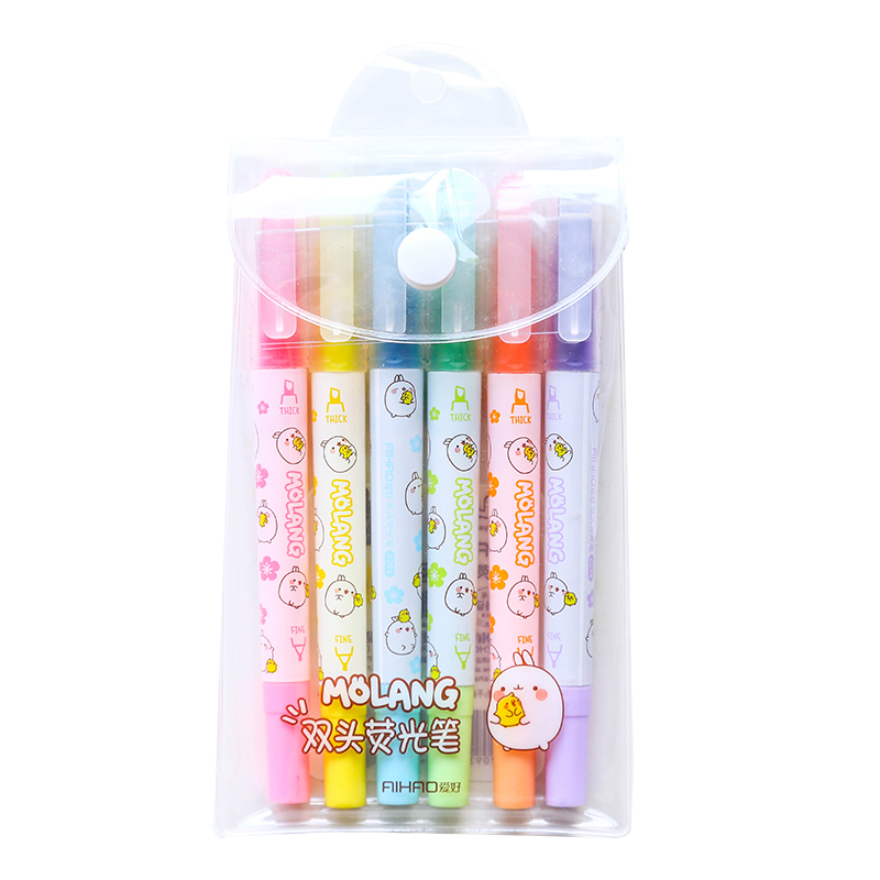 6 Pcs Molang Color Highlighter Marker Pen Set Dual-side Spot Liner Cute Stationery Office School Supplies Material Escolar F007