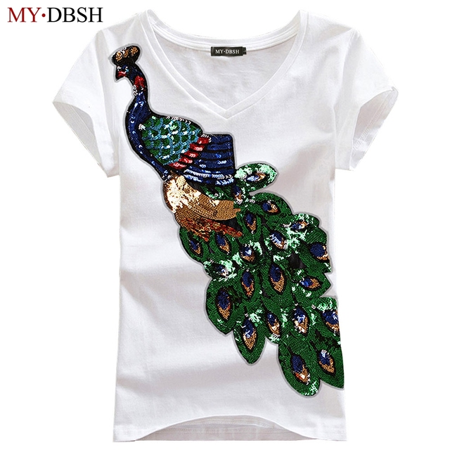 Nieuwe Mode Vrouwen Elegante Pauw O Hals t-shirt Vro Pailletten Borduren T-shirt Casual Top Tees Plus Size S-4XL Gratis verzending