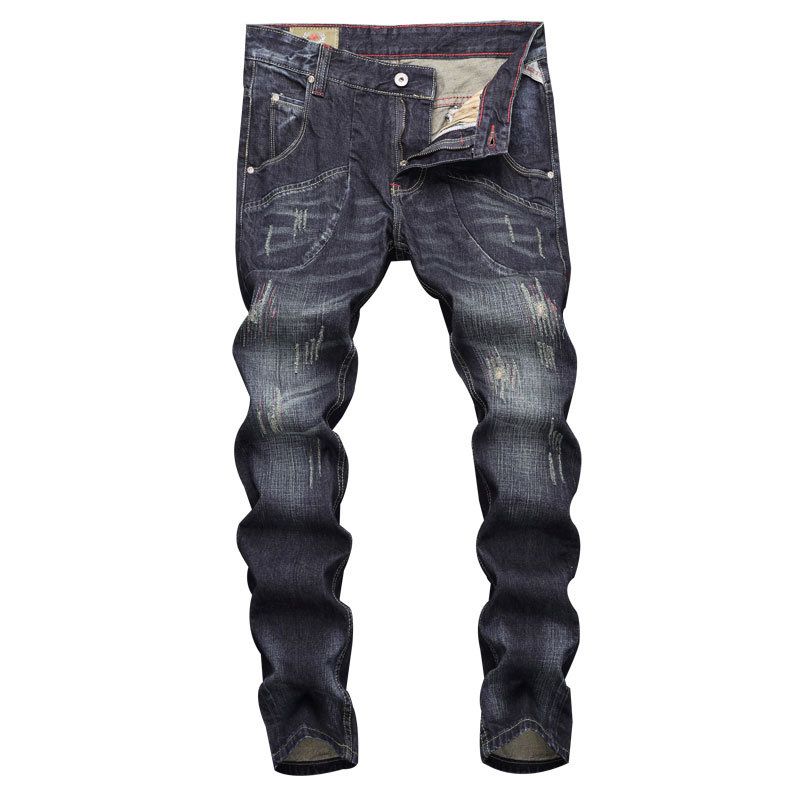 2019 Top Quality Fashion Men Jeans Black Color Slim Fit Cotton Ripped Classical Jeans,New Pants