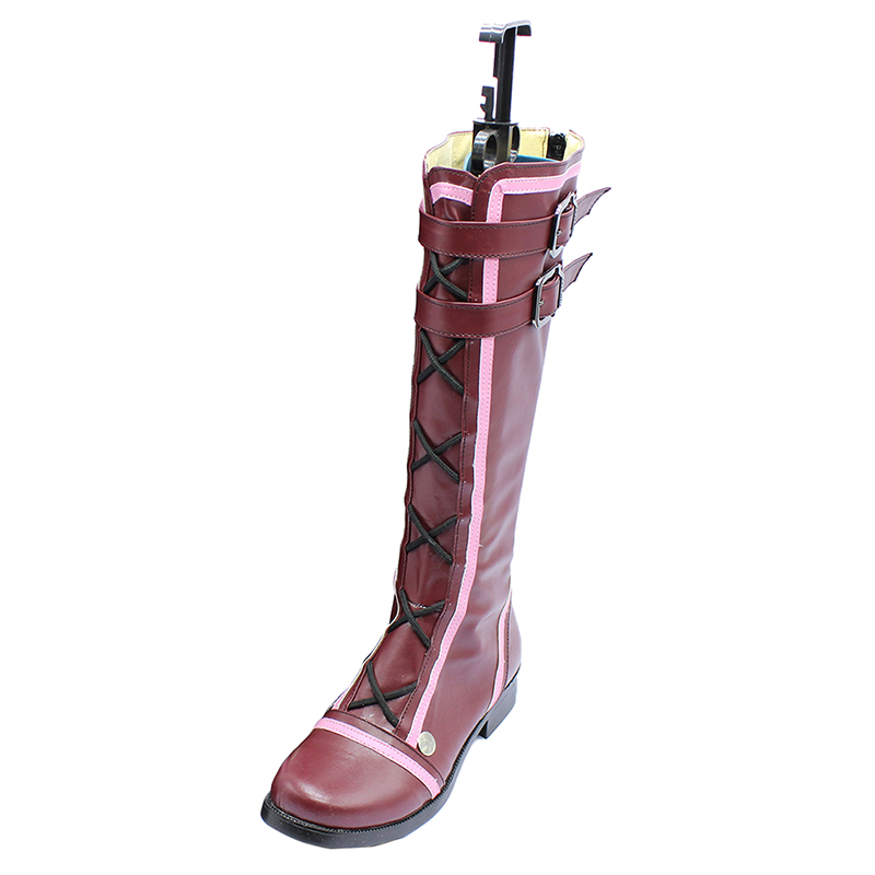 brdwn God Eater 2 Womens Sillu Ellensen cosplay middle calf boots Purple Custom Flat shoes