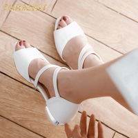 SarIris Young Flower Decoration Chunky Heels Belt Strap Open Peep Toe Summer Shoes Woman Sandals Large Size 30 44