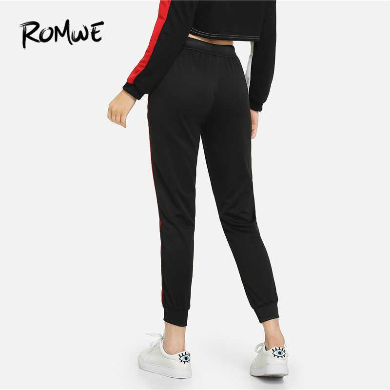 ab16c6e7c8bfd7 ... ROMWE Black Drawstring Waist Striped Side Pants Women Casual Autumn  Fashion Sweatpants Bottoms Sporty High Waist ...