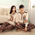 Autumn And Winter Female Or Male Long-sleeve Lovers Cartoon Couples Full Sleeve Knitted Cotton Sleepwear Lounge