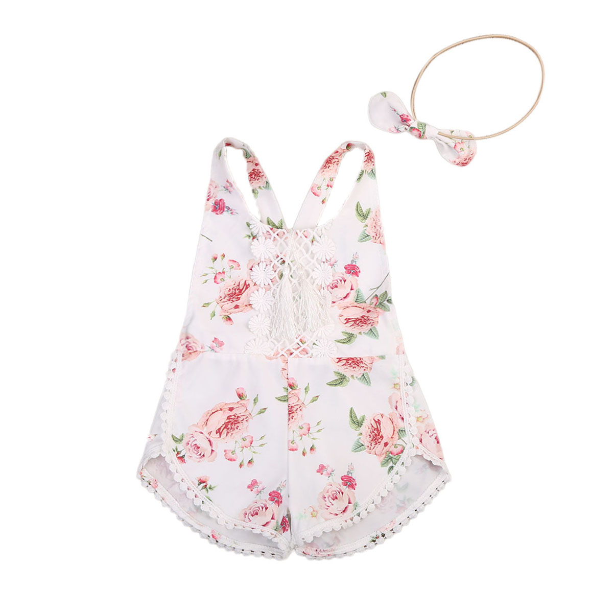 2017 Summer Newborn Baby Girl Floral Clothes Jumpsuit Sleeveless Backless Flower Belt   Romper   Headband Outfit Size 6M-4T