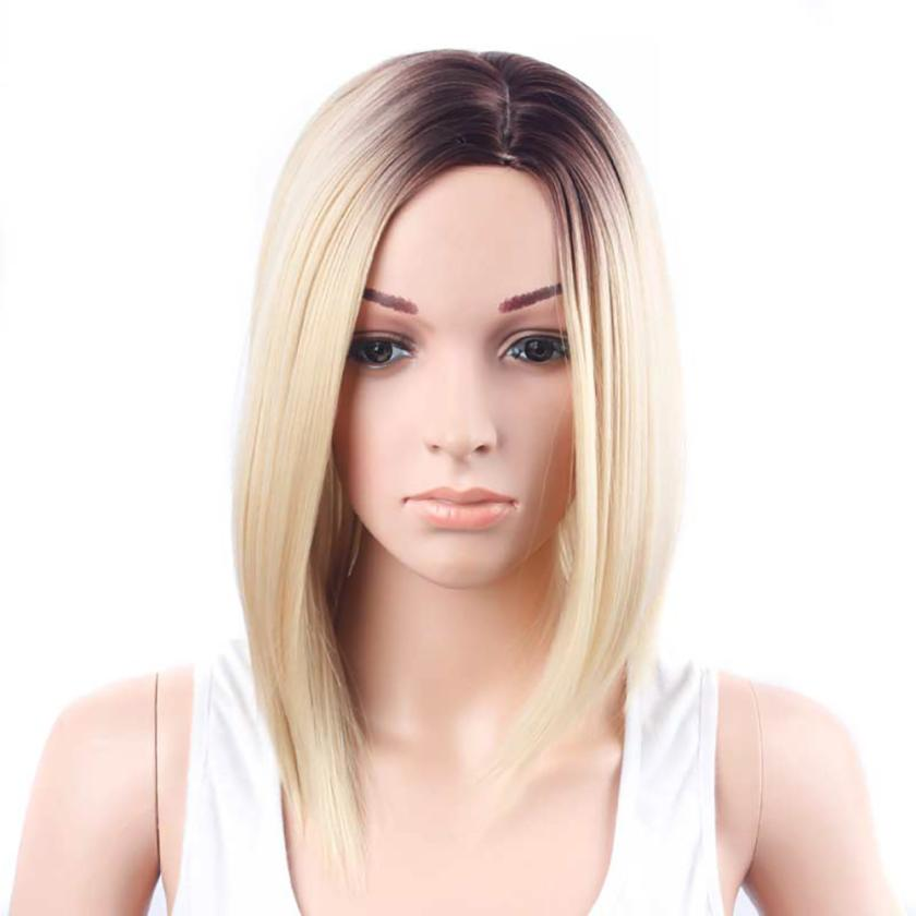 Womens Fashion Gold Hair Lace Front Wig Long Straight Synthetic Wigs 0703