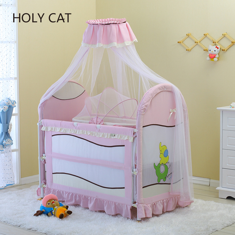 Multifunctional Iron Baby Bed, Environmental Protection Paint Free Bed