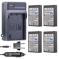 4x PS BLS5 BLS 5 BLS 50 BLS5 Camera Battery + Car Charger for Olympus PEN E PL2 E PL5 E PL6 E PL7 E PM2 OM D E M10 II Stylus 1