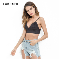 Sexy Slim Women Shirt Summer Tank Top Woman Suede Crop Tops Camisole Sleeveless Vest Party Sexy