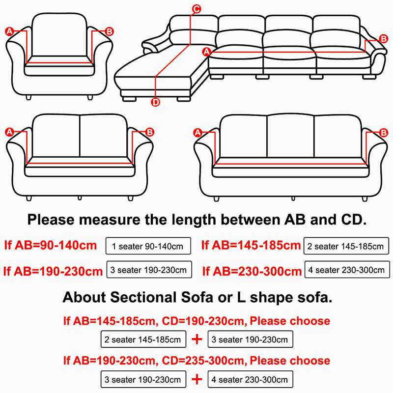 Universal Size 1 2 3 4 Seater Sofa Cover Stretch Elasticity Seat Couch Covers Loveseat Funiture Pillow Case Home Decoration
