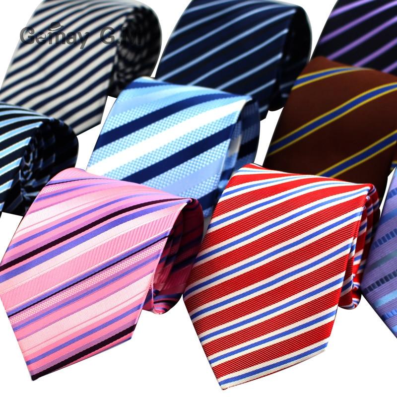 Fashion Jacquard Striped Ties for Men Classic Neckties for Wedding Business Luxury Red Black Pink Tie Gravatas Polyester Necktie