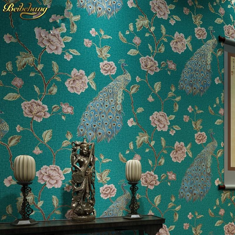 Beibehang papel parede papier peint mural de luxe paon broderie papier peint rouleau Floral oiseaux 3D papel de Parede Eco papier peint rouleau - 2