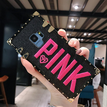 Galaxy S9 Case Luxury Embroidery 3D Pink Letter Phone Cover