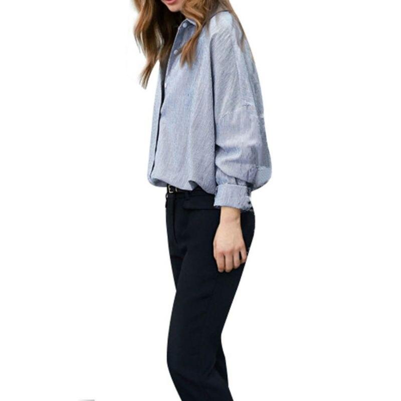b8c83695c4 Kobiety bluzka odzież topy w paski luźne duży rozmiar paski długi rękaw  koszula z klapami