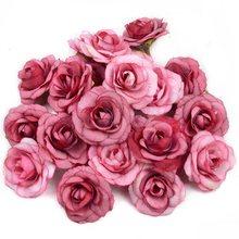 Cabeça de flor de rosa de seda, 50 peças 4cm artificial mini para casamento natal festa decoração diy wreath scrapbook artesanato falso flores