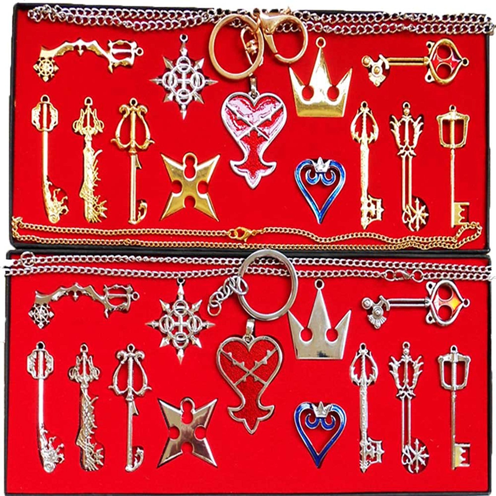 Kingdom Hearts 2 II Keyblade Keychain Pendant Necklace Set Box 13pcs Collection