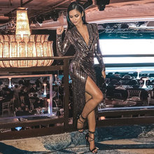 Glitter Sequin Sexy Party Long Dress Women's Clubnight Silver Gold Vestido 2019 Autumn Mid calf Deep V Neck Thigh Slit Dresses(China)