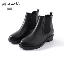 Whoholl Autumn Casual Platform Thick Heel Women Ankle Chelsea Boots Ladies Slip on High Heels Female Shoes Footwear 2018 Black kickway 2018 slip on stretch band rubber boots winter ankle chelsea boots women shoes autumn square heel female footwear 34 42