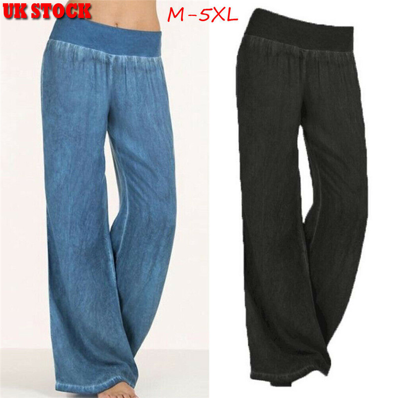 Plus Size Womens Sport   Wide     Leg     Pants   High Waist Loose Casual Comfortable Cotton Trousers HOT