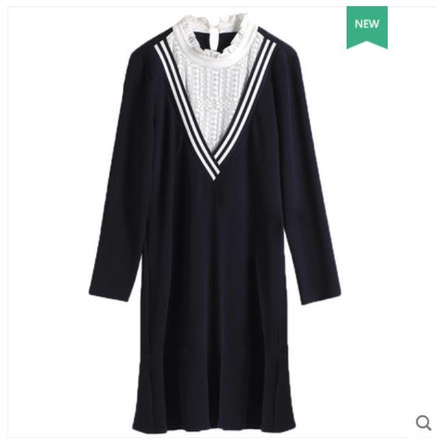 Plus-taille femmes robe 2018 nouvelle graisse mm robe V col de feuille de lotus bord montre mince spliced dentelle tricoté robe