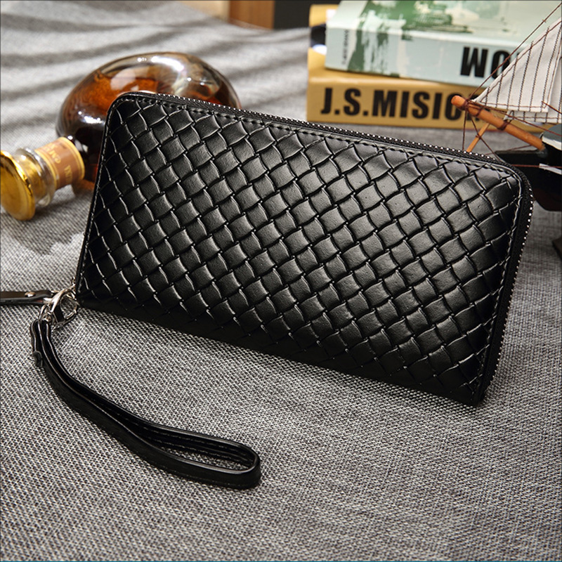 Men Wallets With Coin Pocket Long Zipper Purse Casual Male Clutch Wallet Men Lozenge Veins Business Card Holder Vintage Wallet