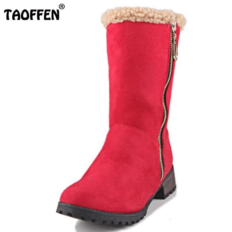 TAOFFEN Women Round Toe Flat Half Short Boots Woman Zipper Snow Boots Comfort Winter Fur Botas Woman Shoes Footwear Size 33-47