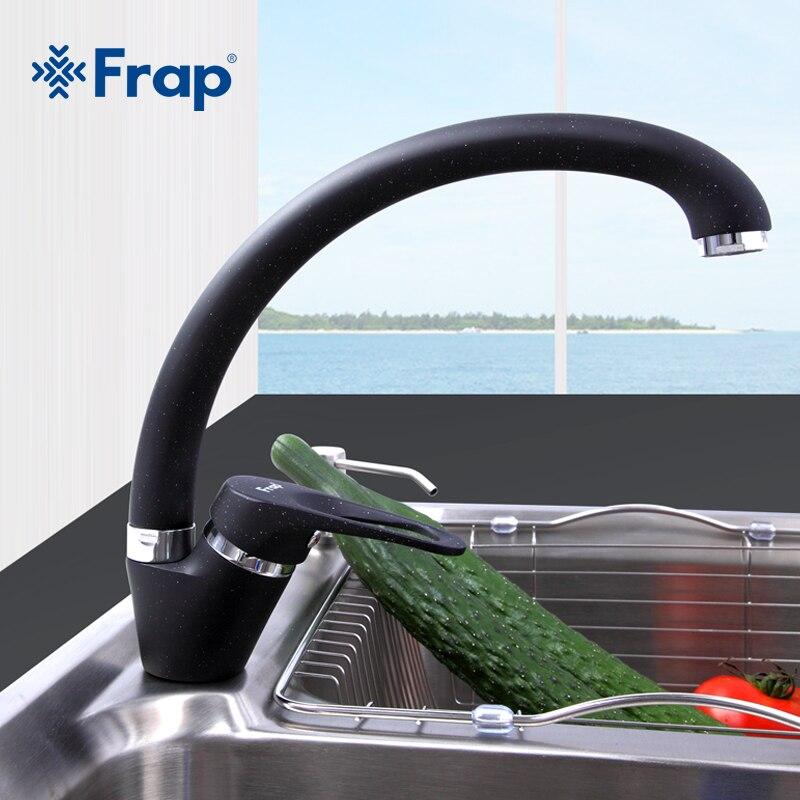 Frap de moda arco fregadero de cocina grifo 5 Color latón mezclador grifo sola manija agua mezclador grifos de carrete grifo f4113