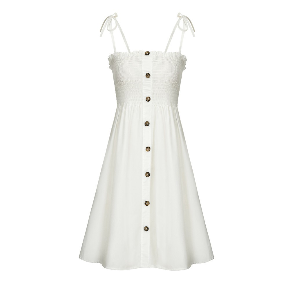 HTB1t.dOaULrK1Rjy1zbq6AenFXac Sexy Womens Dress Fashion Ladies Solid Color Bind Buttons Casual Mini Beach Dress Casual Ladies summer dress vestidos verano NEW