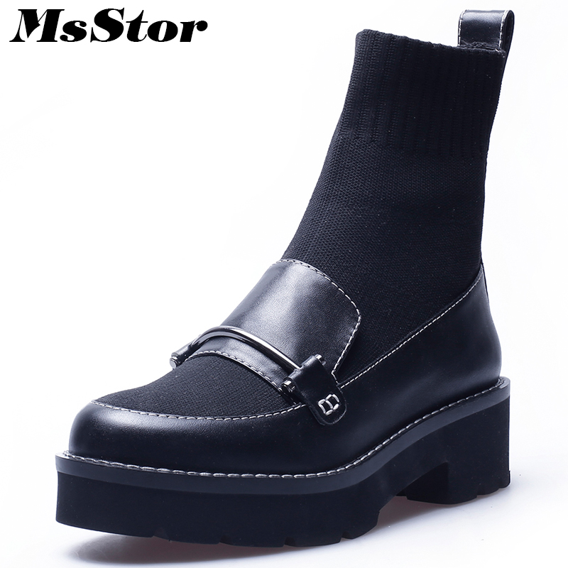 MsStor Women Boots Casual Fashion Round Toe Thick Bottom Ankle Boots Women Shoes Platform Knitting Black Boots Shoes For Girl msstor round toe thick bottom women boots casual fashion concise ankle boots women shoes mature elegant platform boots women
