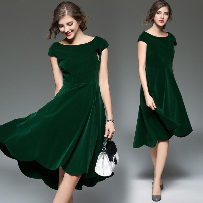 Good quality 2017 spring new women elegant ruffle dress pendants back longer than front repair velvet dress wj361 free shipping