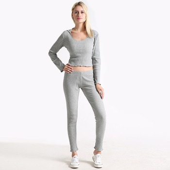 Grey Long Sleeve Rib Knit cover up Hoodie Sexy Crop Tee and Leggings Set Autumn 2 Piece Set Women Pant and Top image