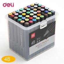 цены на Deli 48 Color Art Markers Set Dual Headed Square Artist Sketch Oily Alcohol based markers brush ink Animation Marker pen  в интернет-магазинах