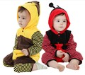 animal cartoon thickening ladyfly bee style autumn spring baby boys girls long sleeve hooded rompers infant overalls