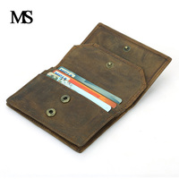 Genuine Leather Business Cards Holders Vintage Cards Package Short Style 2 Folds Credit Card Holder With