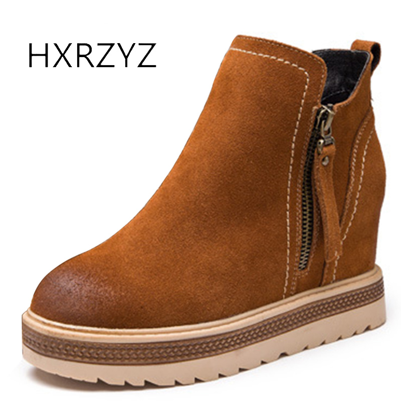 HXRZYZ women ankle boots winter suede genuine leather boots autumn new fashion ladies side zipper casual increased women's shoes hxrzyz autumn ankle boots women increased wedges new round toe thick heel female anti skid side zipper shoes black winter boots