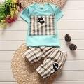 2016 Marca nova 2016, verão, conjunto de roupas, roupas bebê recém-nascido menino, desgaste do bebê, roupa dos miúdos define com chapéu, macio t-shirt + calças terno