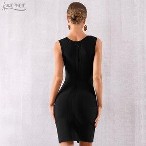Image 5 - Adyce فستان نسائي أسود بتصميم جديد لصيف 2020 ، فستان مثير بفتحة واسعة على شكل V ، فستان حفلات مسائية للمشاهير