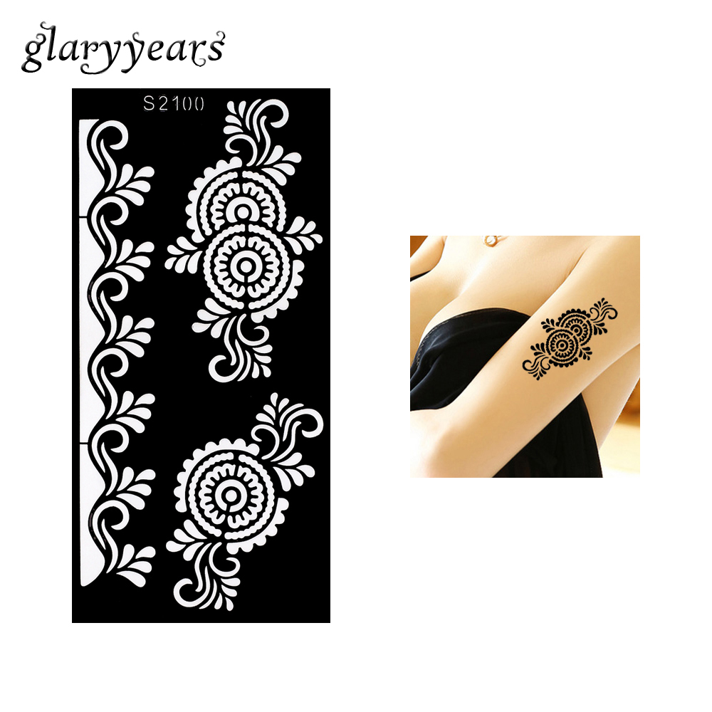 Lovely 1pc Temporary Airbrush Henna Stencil For Women Body Painting Waterproof Life Of Tree Pattern Tattoo Stencil Leg Arm Art Tool H8 Makeup Body Paint