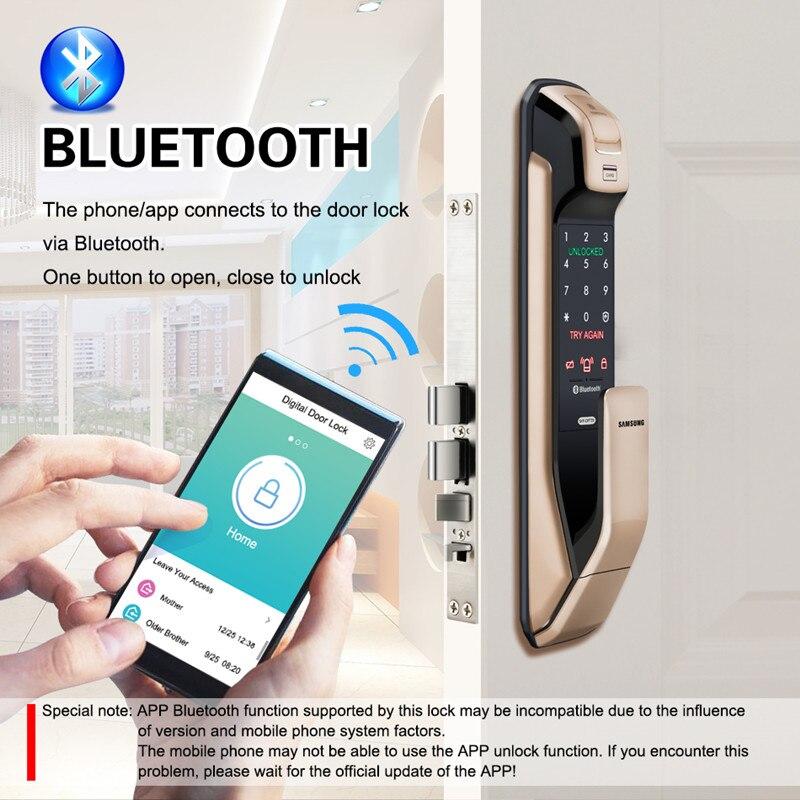HTB1t.e3aB1D3KVjSZFyq6zuFpXaJ SAMSUNG Fingerprint PUSH PULL Digital Door Lock With WIFI Bluetooth App SHS-DP728 English Version Big Mortise AML320